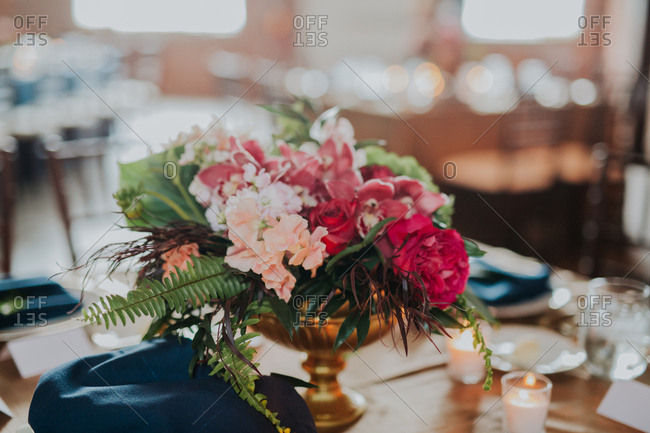 Closeup of flowers on a table setting