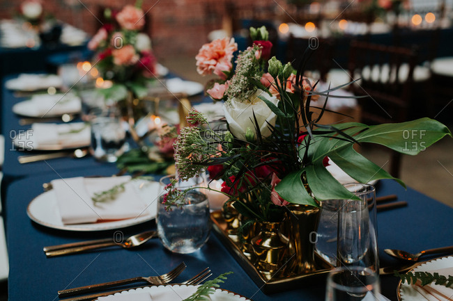 Details of a bouquet on a table setting