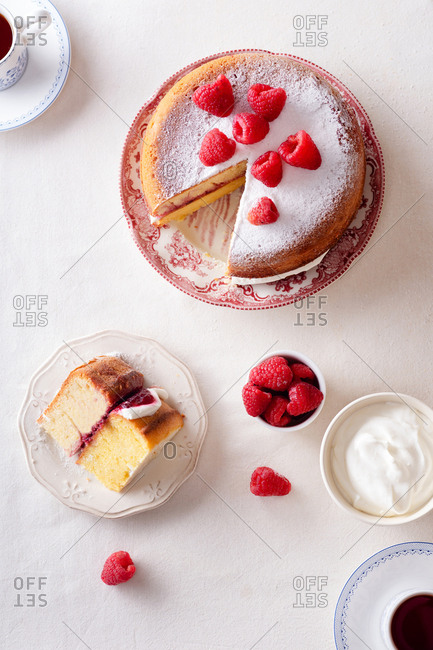 Teatime with victoria sponge cake