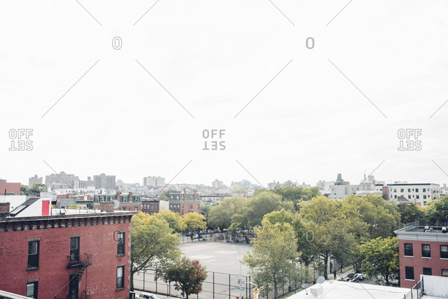City scape of brooklyn neighborhood from above