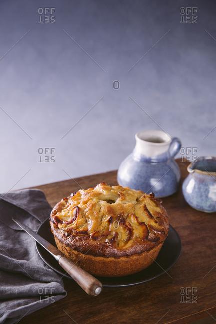 apple cake on table