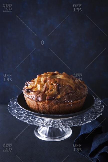 apple cake on cake stand