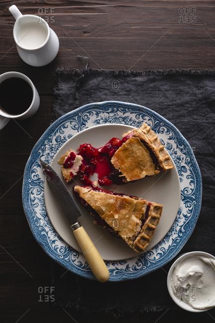 two slices of cherry pie overhead