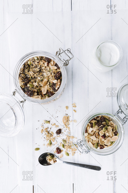jars of homemade granola with yogurt