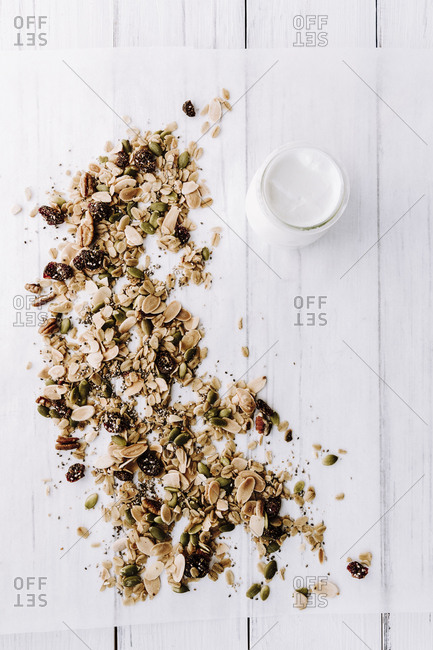 overhead shot of homemade granola