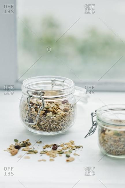 two jars of homemade granola