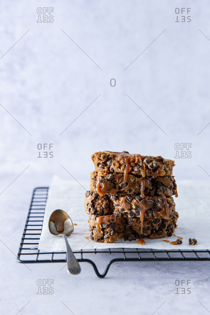 stack of sliced chocolate chip banana bread