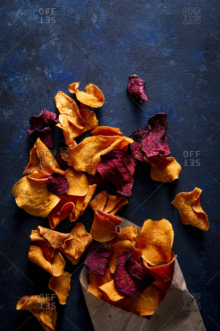 overhead shot of beet and sweet potato chips