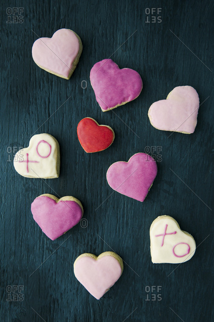 heart shaped cookies on a dark background