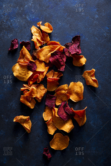 beet and sweet potato chips overhead shot