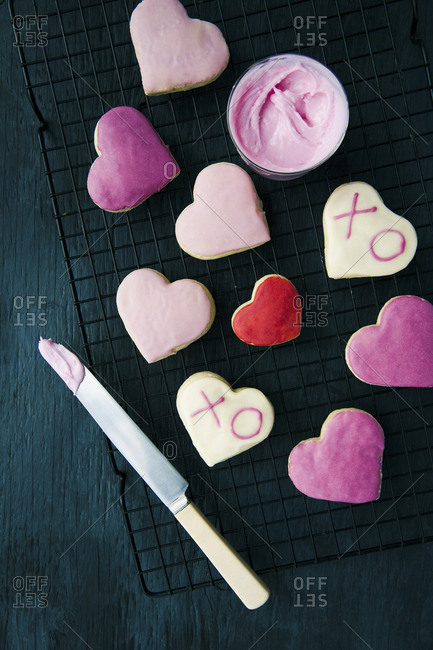 valentines cookies on a baking raack