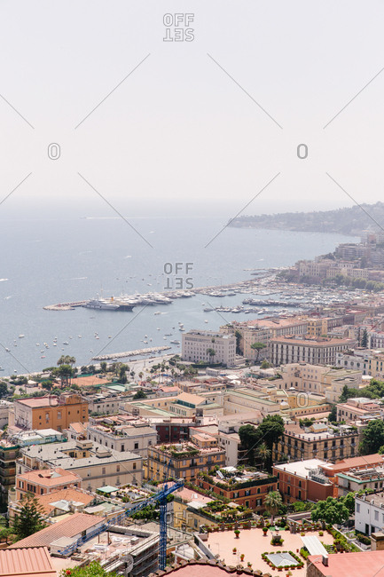 View on the city of Naples, Italy with the Mediterranean Sea in the background.
