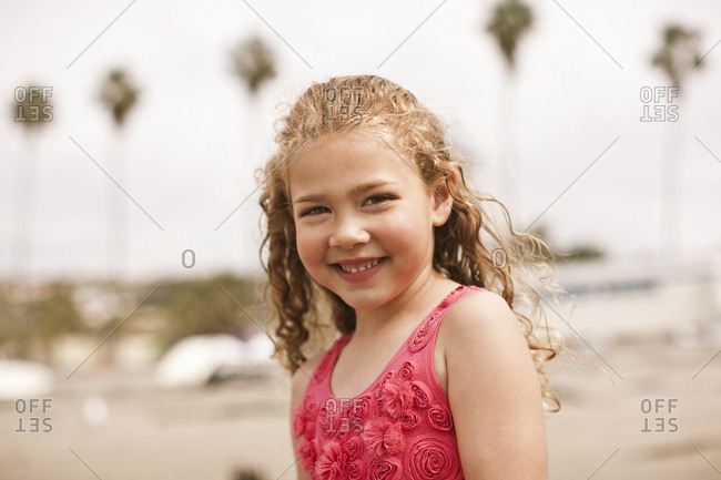 Portrait of young girl at the beach.