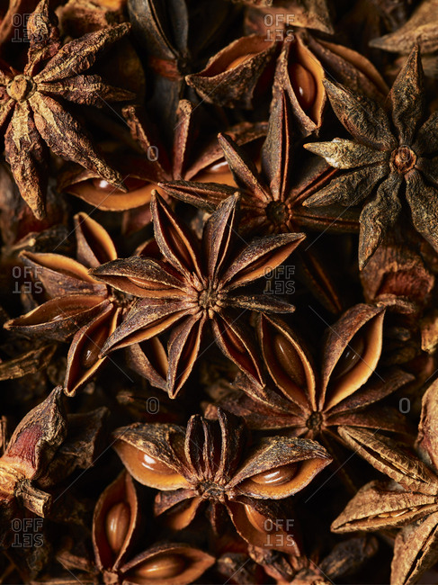 A close up macro shot of a pile of star anise shot from above, showing of the details and structure of the spcie with its seeds