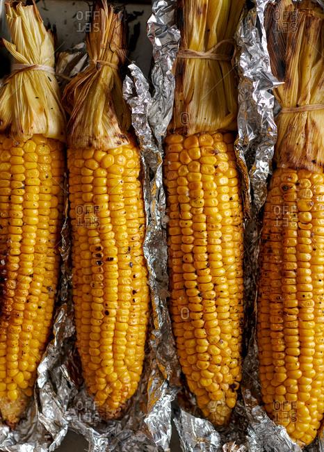 BBQ corn in aluminum foil