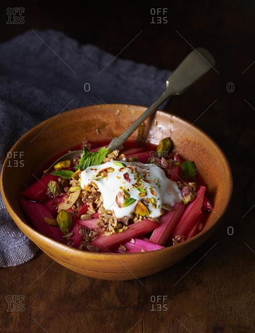 Rhubarb yogurt granola breakfast bowl
