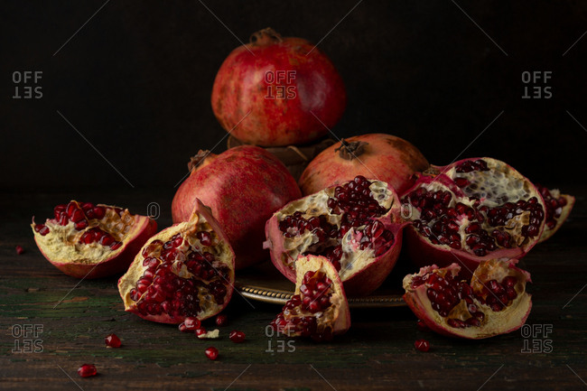 Pomegranates fruit and seeds still life