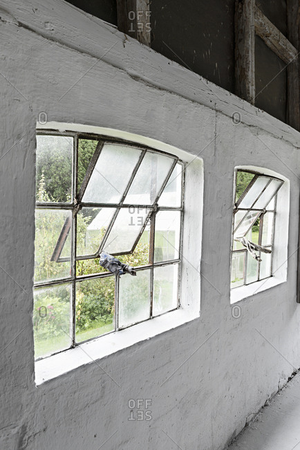 Windows propped open with old cloths