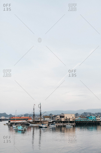 View of Monterey bay and Old Fisherman's Warf with boats