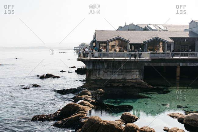 Monterey, California - November 19, 2018: View of tourists on the lookout deck at the Monterey Bay Aquarium