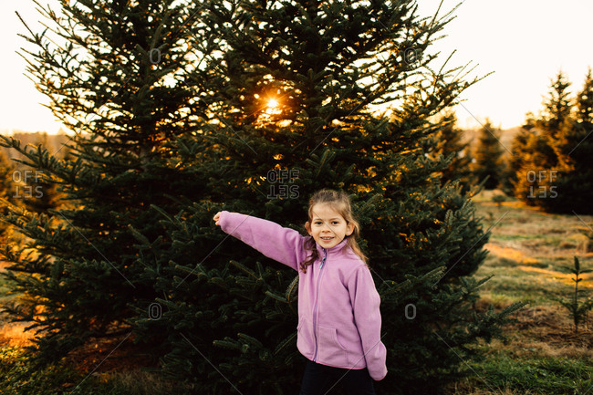 Portrait of a young girl standing in front of a pine tree