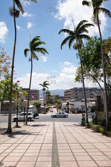 San Jose, Costa Rica - April 2, 2018: Street scene in San Jose