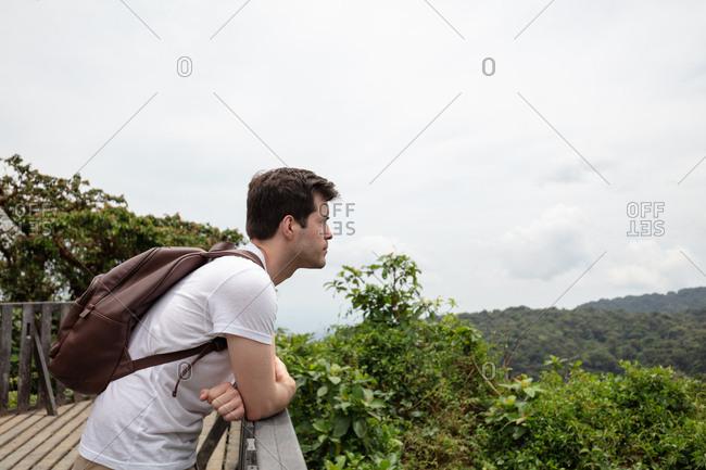 Man overlooking hillside forest in Costa Rica