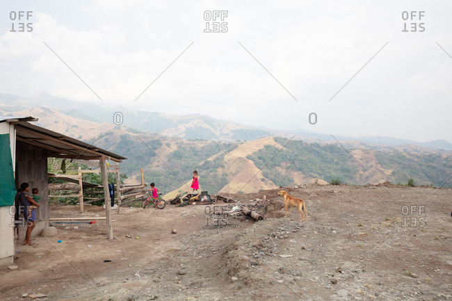 Costa Rica - April 9, 2018: Family at their hillside home in rural Costa Rica