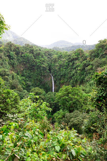 National Park with the waterfall of La Fortuna in Costa Rica
