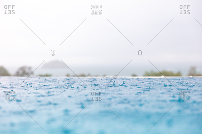 Raindrops falling in a swimming pool