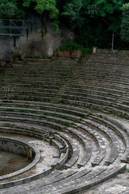 View of ancient grey seats of circus