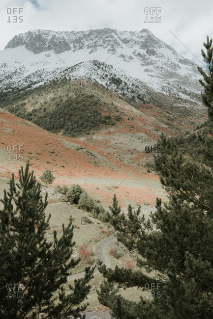 Picturesque view of valley with coniferous woods and wonderful mountains in snow in Pyrenees