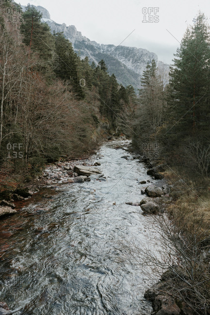 From above picturesque view of river between woods and wonderful mountains in Pyrenees