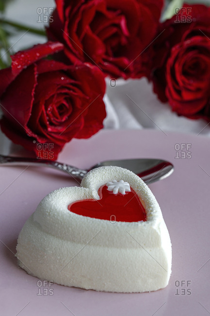 Cake with heart shape. For Valentine's Day. Of cream and strawberry. Love