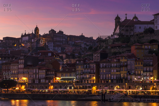 PORTO, PORTUGAL - MARCH 17, 2017: view of the town of Porto at night with the lights of the city.