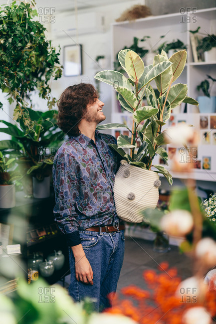 Man carrying a big plant in woolen pot. Flower shop, shopping for decorations.