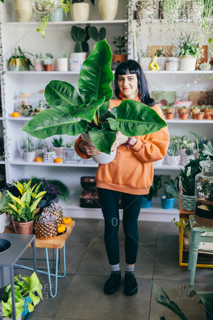 Woman holding big plant in a pot, surrounded by flowers. Flower shop, florist, business owner. Botany, decorations.