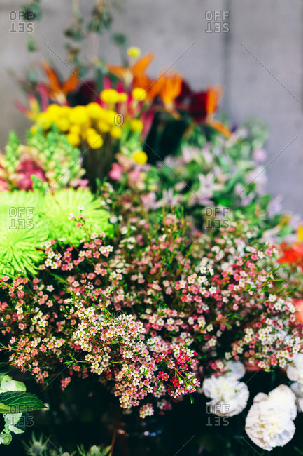 Spring flowers display in the flower shop. Small business, retailing, florist.