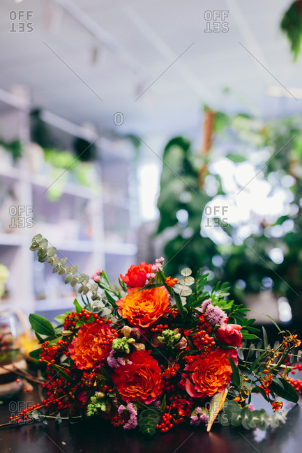 Bouquet of flowers in the flower shop. Floral market, small business, retailing.
