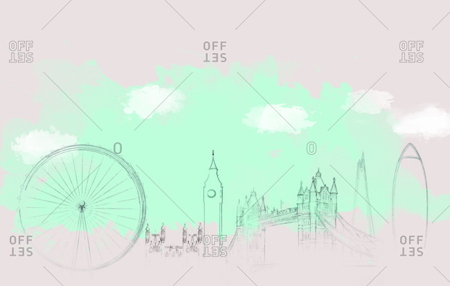 Outline of London skyline