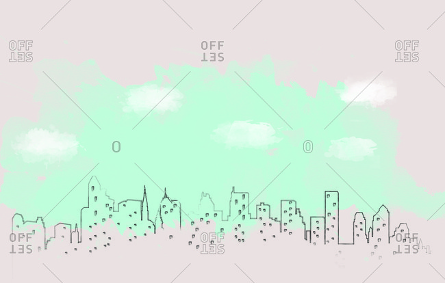 Outline of New York City skyline