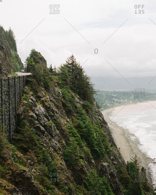 Elevated view of coast in Manzanita, Oregon
