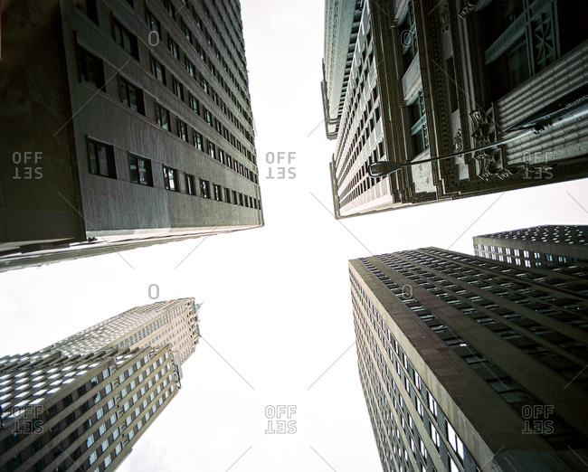 Extreme low angle view of tall building in New York City