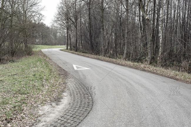 Curving rural road