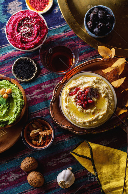 Top view image of middle-eastern dishes