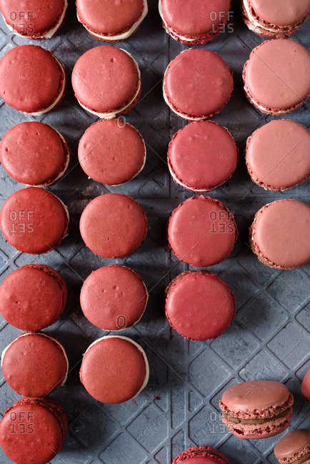 Macarons in different pink shades creating a pattern on a gray background