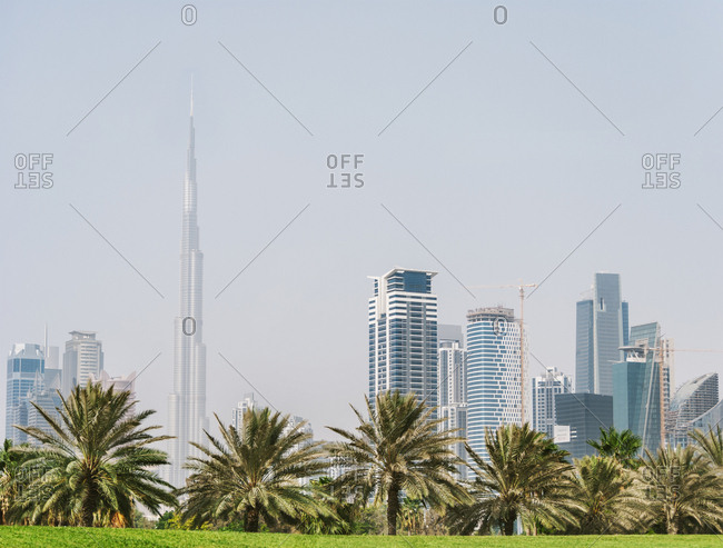 United Arab Emirates - February 5, 2019: Dubai skyline from Safa park.