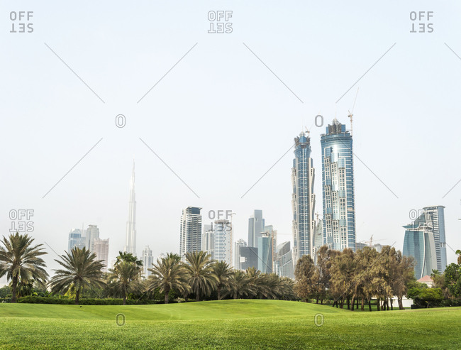 Dubai skyline from Safa park. United Arab Emirates.