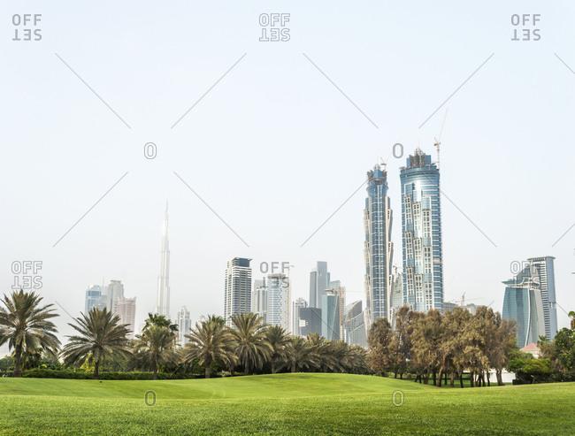 Dubai skyline from Safa park. United Arab Emirates. stock ...