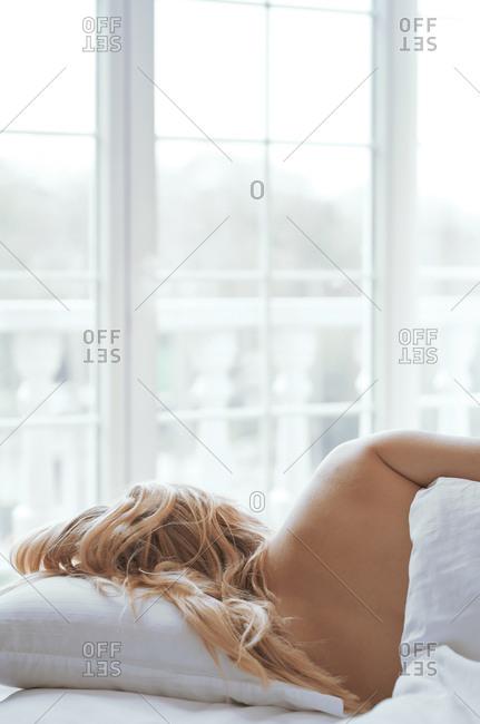 Blond woman sleeping